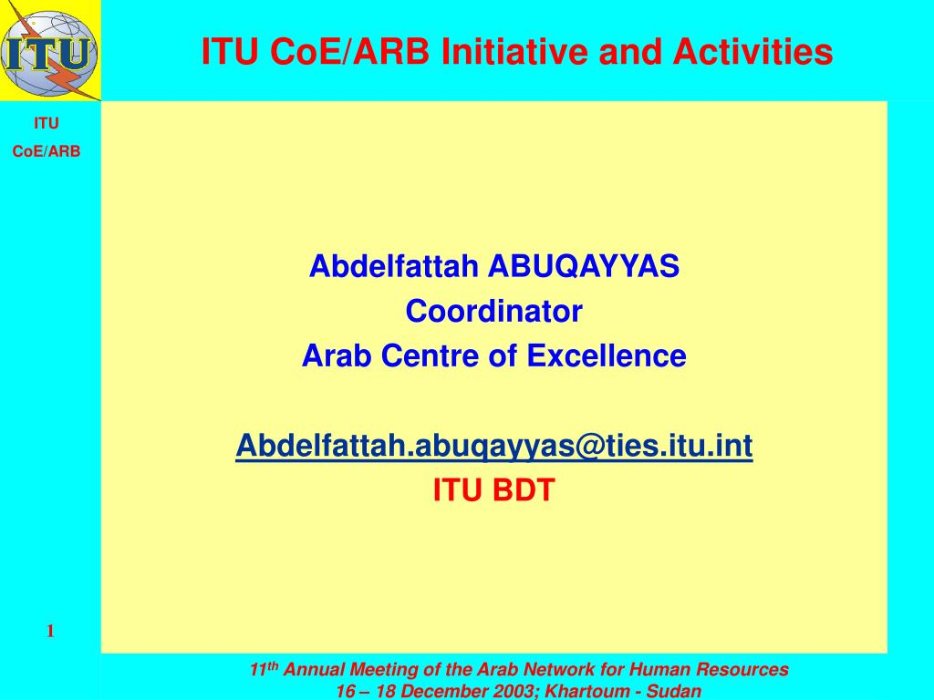 itu coe arb initiative and activities l.