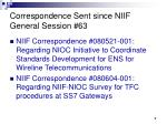 correspondence sent since niif general session 63