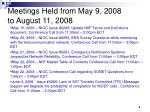 meetings held from may 9 2008 to august 11 2008