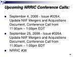 upcoming nrric conference calls