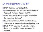 in the beginning arpa