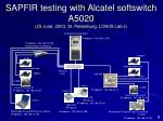 sapfir testing with alcatel softswitch a5020 25 june 2003 st petersburg loniis lab s