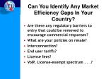 can you identify any market efficiency gaps in your country