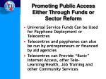promoting public access either t hrough funds or sector reform