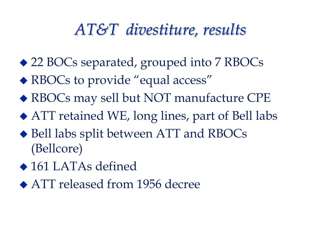 AT&T  divestiture, results