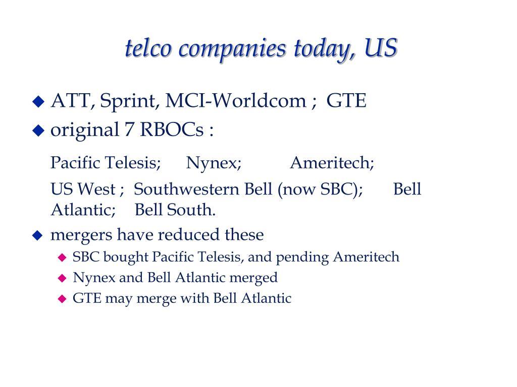 telco companies today, US