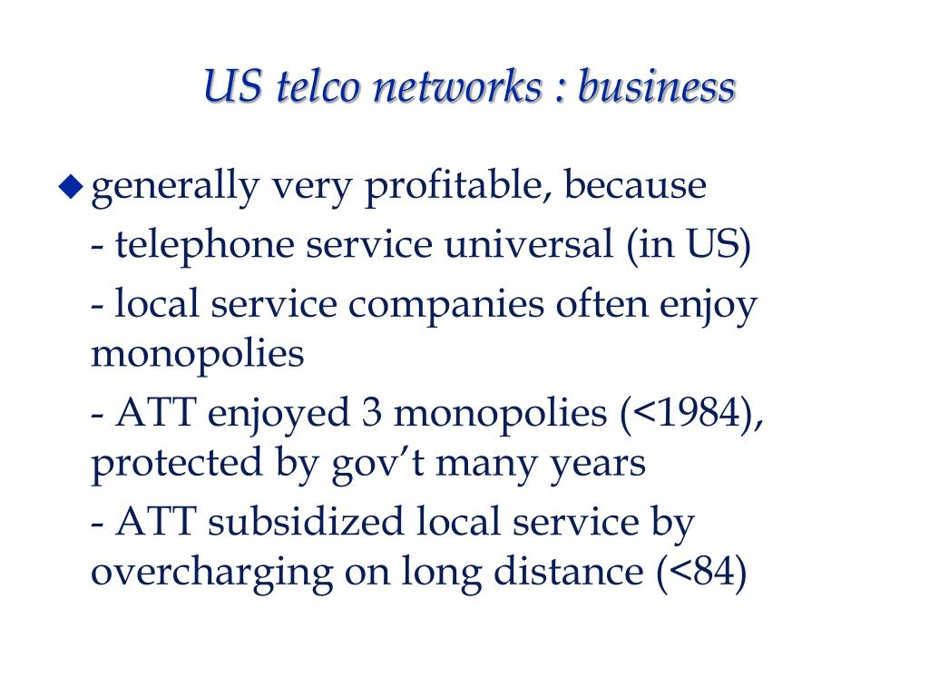 US telco networks : business