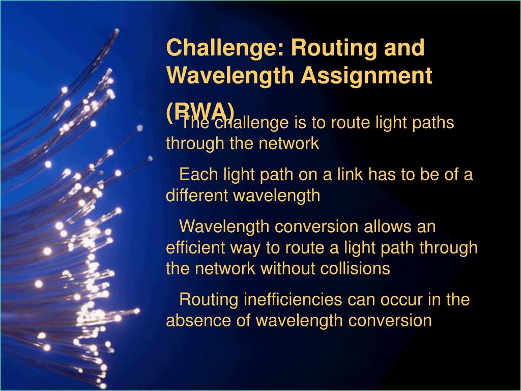 Challenge: Routing and Wavelength Assignment (RWA)