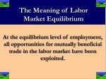 the meaning of labor market equilibrium