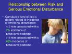 relationship between risk and serious emotional disturbance