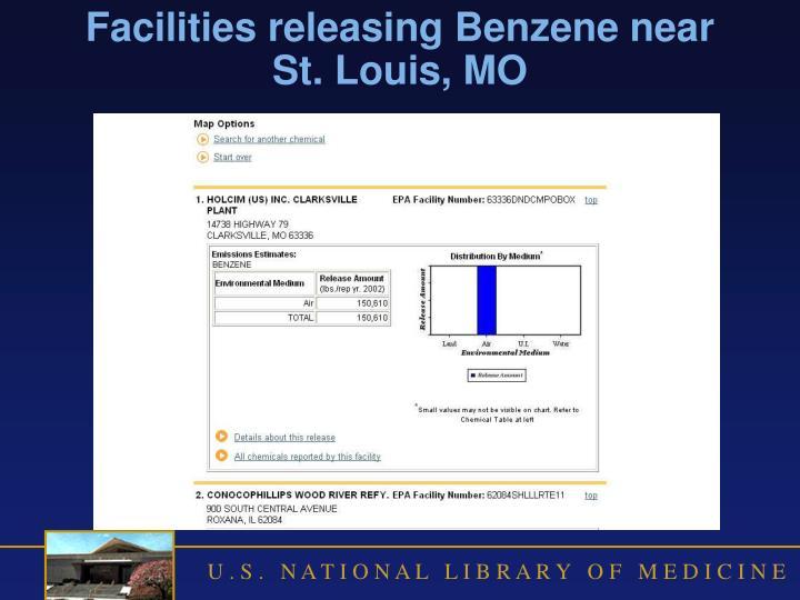 Facilities releasing Benzene near St. Louis, MO