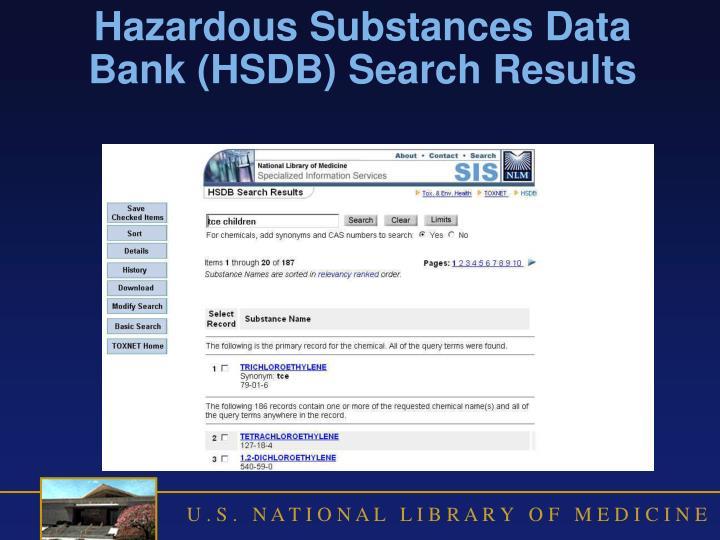 Hazardous Substances Data Bank (HSDB) Search Results