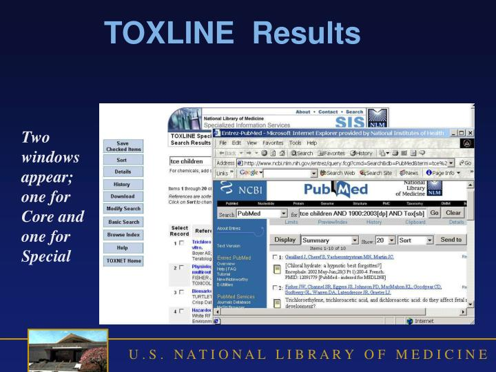 TOXLINE  Results