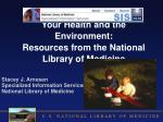 your health and the environment resources from the national library of medicine