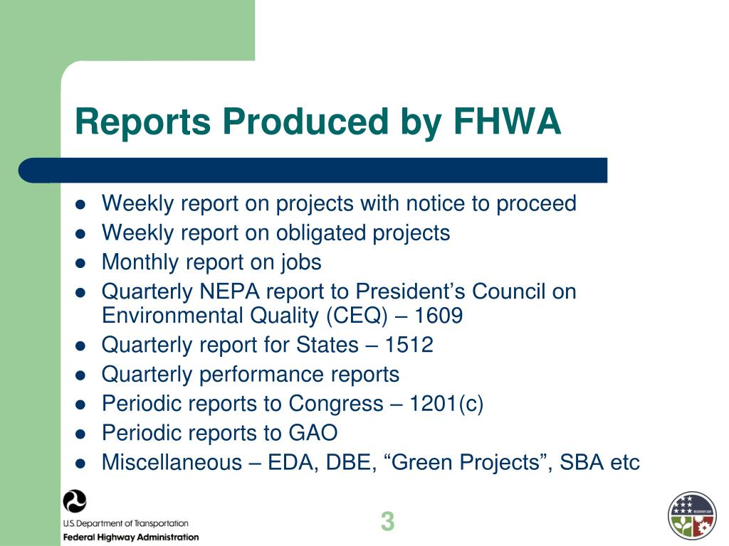 Reports Produced by FHWA