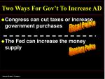 two ways for gov t to increase ad