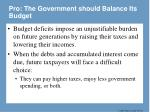 pro the government should balance its budget