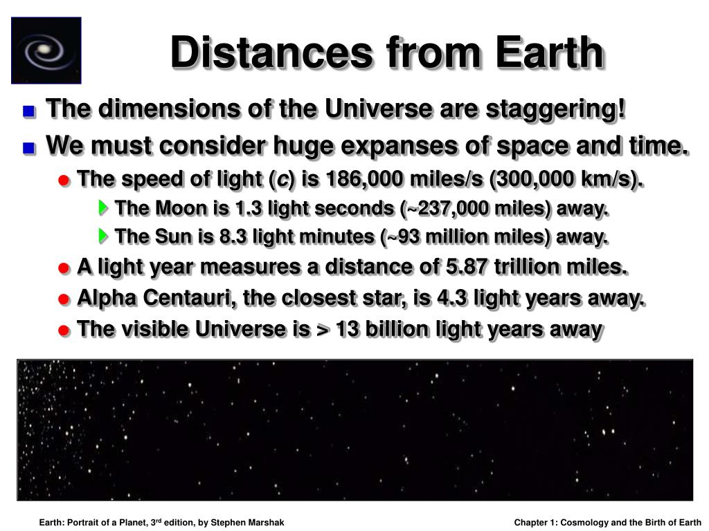 Distances from Earth