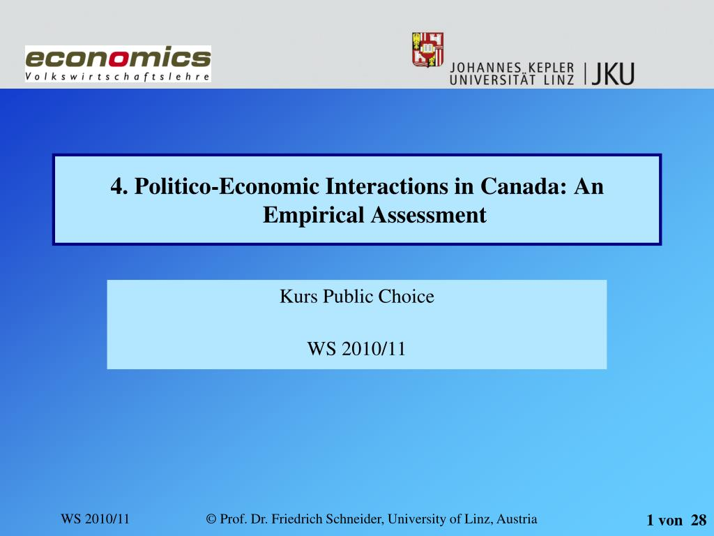 4 politico economic interactions in canada an empirical assessment l.