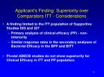 applicant s finding superiority over comparators itt considerations