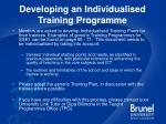developing an individualised training programme
