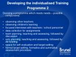 developing the individualised training programme 2