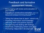 feedback and formative assessment issues