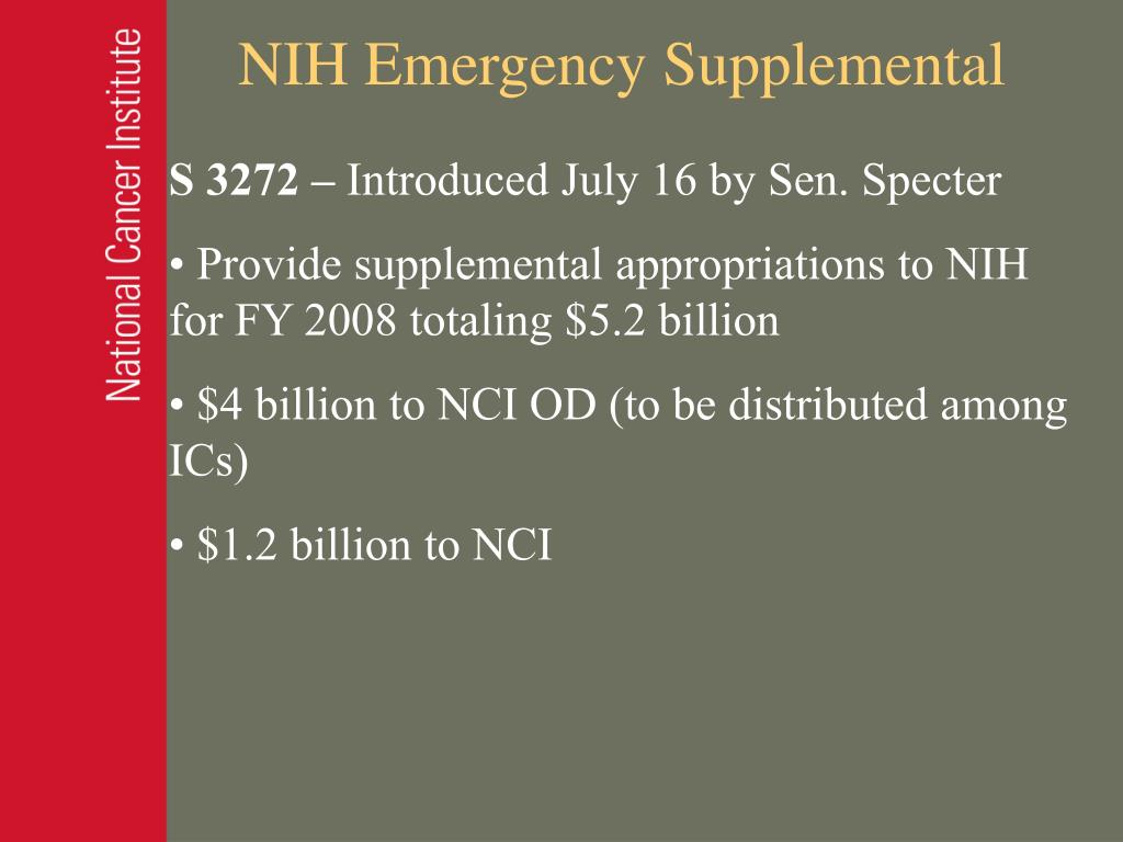 NIH Emergency Supplemental