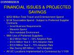 financial issues projected savings