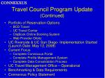 travel council program update continued