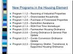new programs in the housing element
