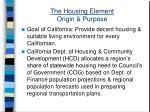 the housing element origin purpose
