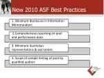 new 2010 asf best practices