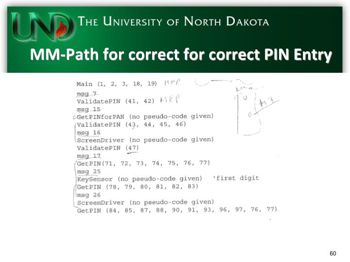 MM-Path for correct for correct PIN Entry