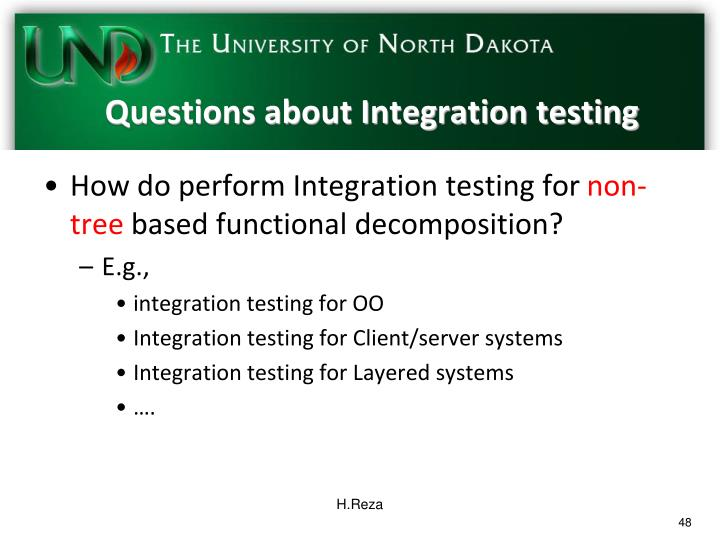 Questions about Integration testing