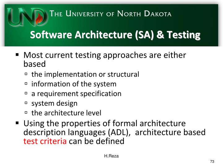 Software Architecture (SA) & Testing