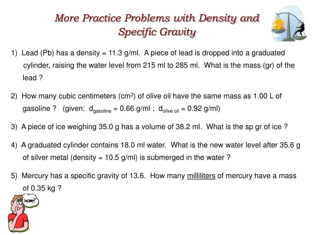 More Practice Problems with Density and
