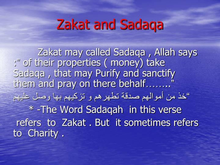 Zakat and Sadaqa