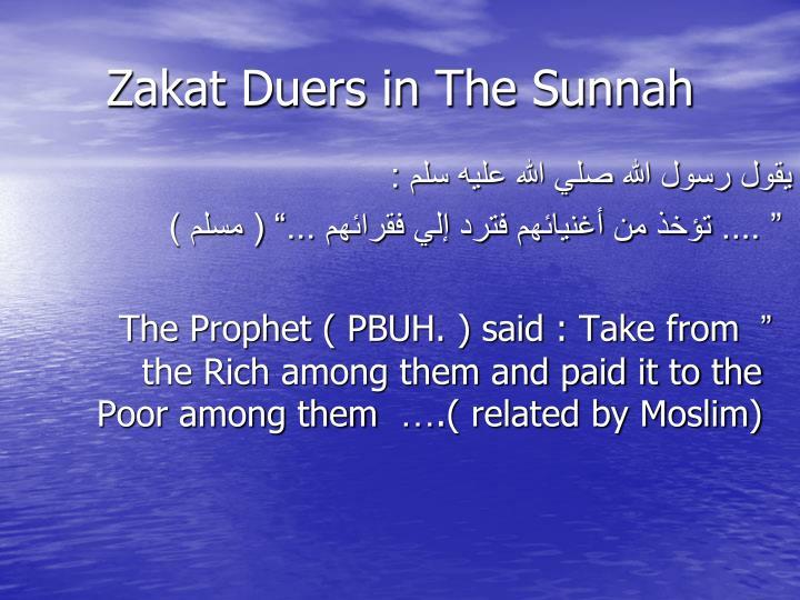 Zakat Duers in The Sunnah