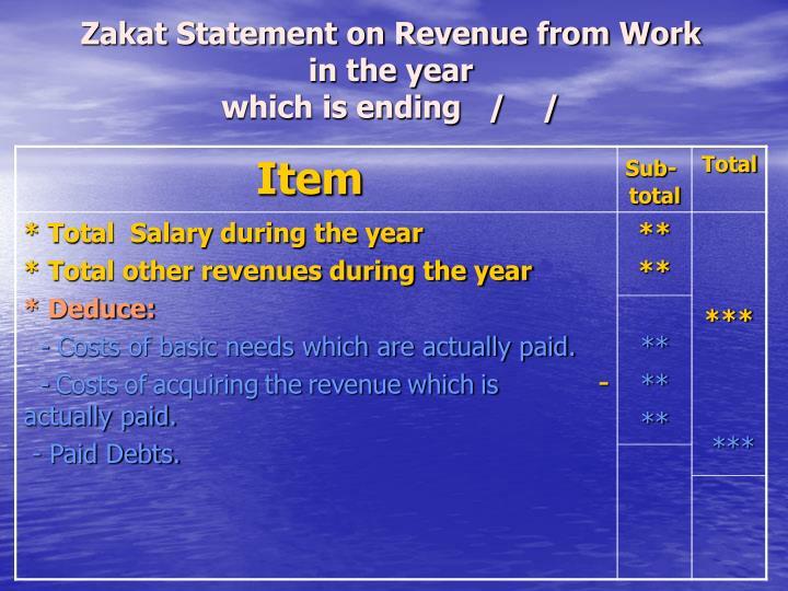 Zakat Statement on Revenue from Work