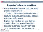 impact of reform on providers