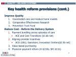 key health reform provisions cont