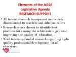 elements of the aasa legislative agenda research support