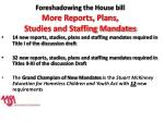 foreshadowing the house bill more reports plans studies and staffing mandates
