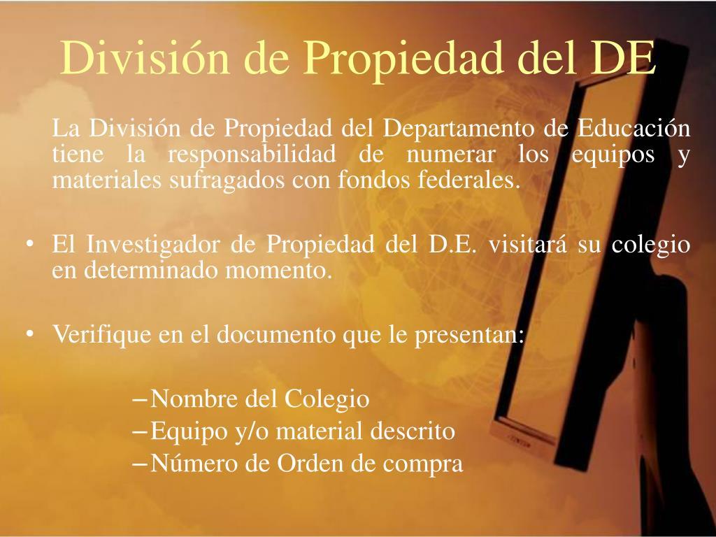 División de Propiedad del DE