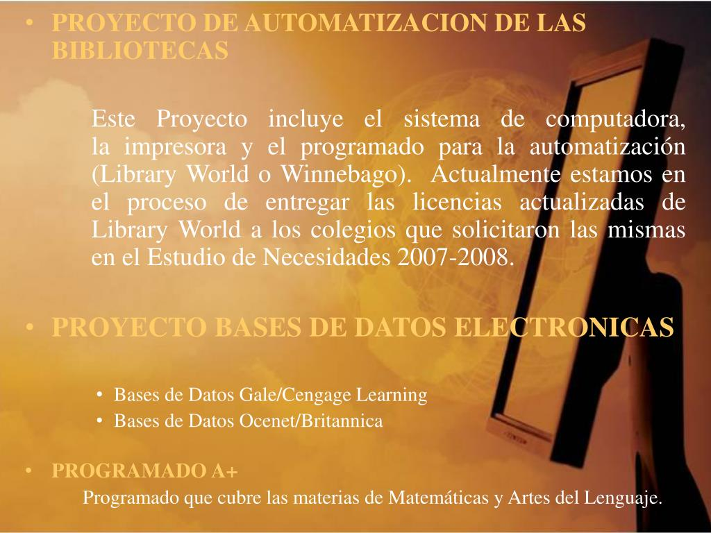 PROYECTO DE AUTOMATIZACION DE LAS BIBLIOTECAS