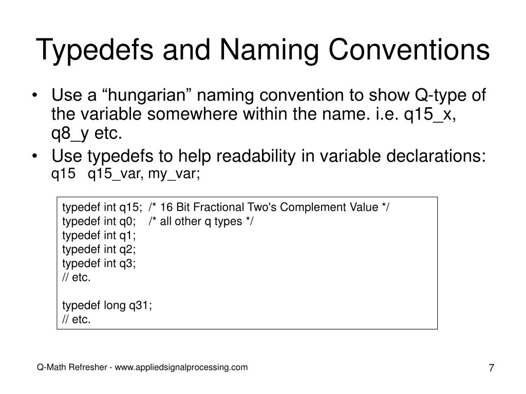 Typedefs and Naming Conventions
