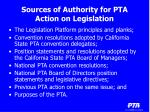 sources of authority for pta action on legislation