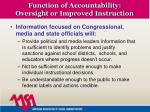 function of accountability oversight or improved instruction