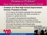 promise or problem new programs in discussion draft